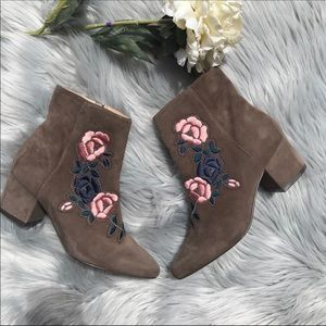 Steven  booker floral embroidery suede booties